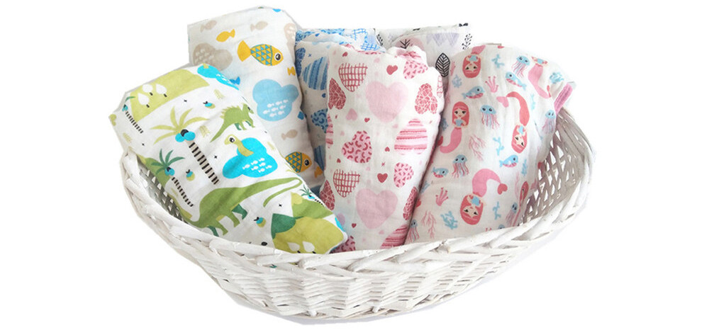 2 layer cotton muslin swaddle blankets 39 x 59 inches