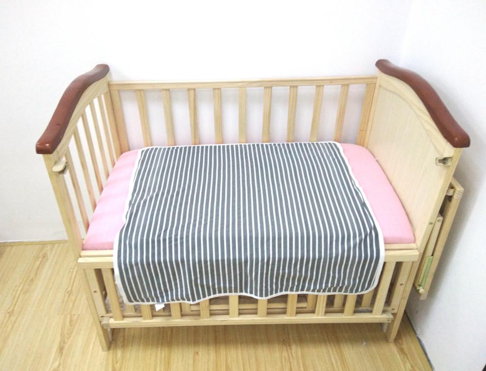 100% cotton jersey swaddle blanket bedding grey stripe