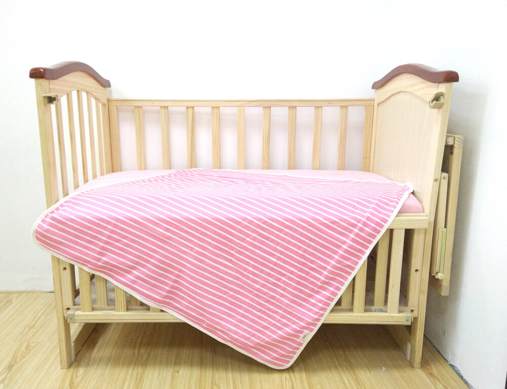 100% cotton jersey swaddle blanket bedding pink stripe