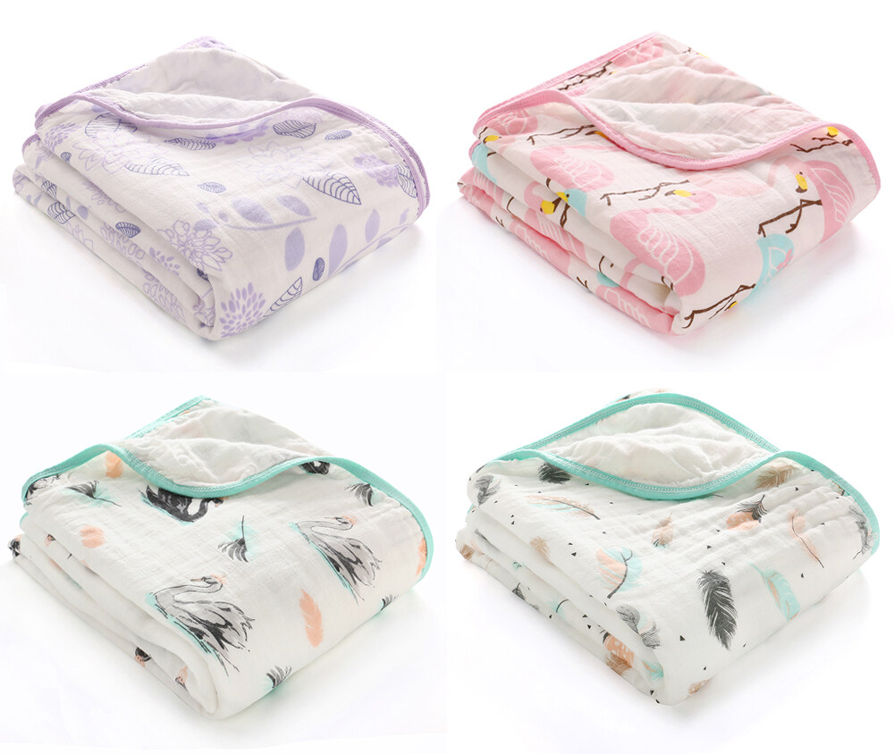 100% cotton muslin swaddle blanket double layer