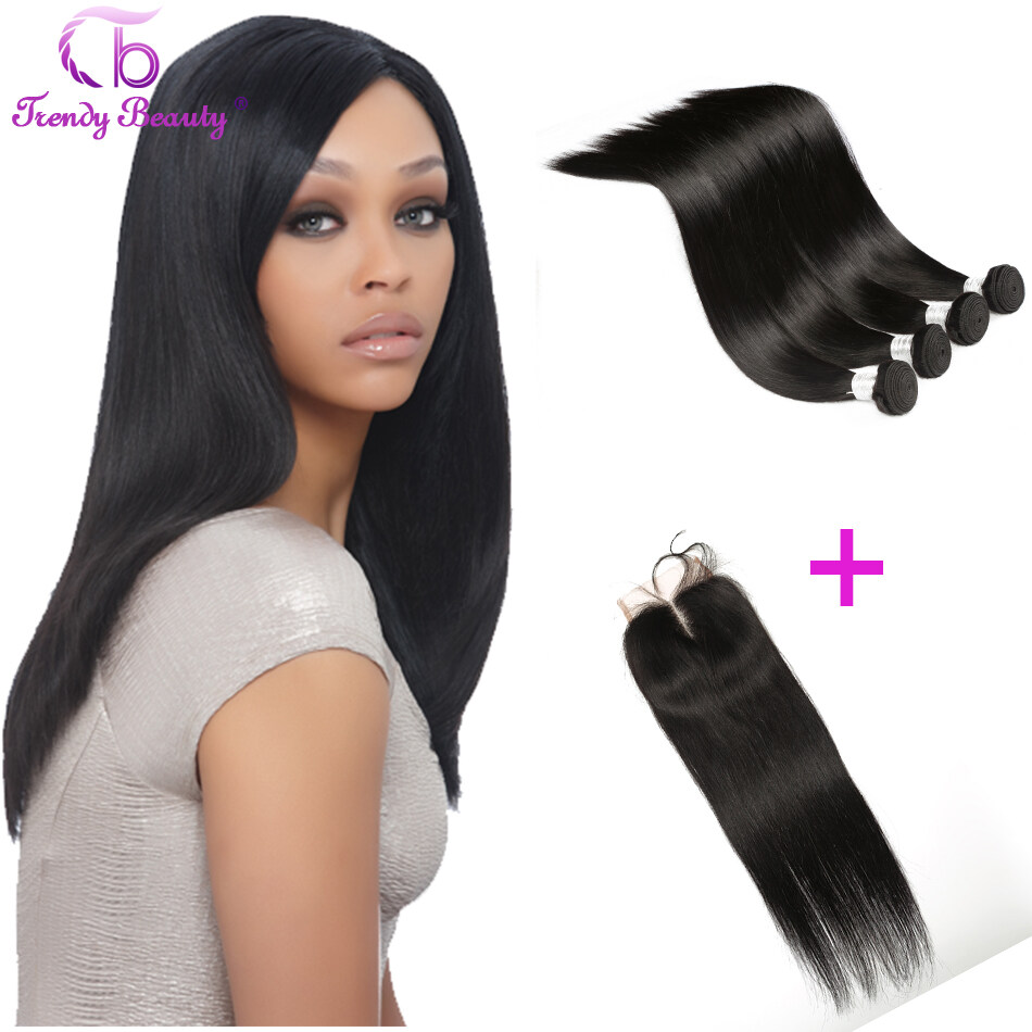 Trendy Beauty Hair 4pcs With 1 Piece Indian Straight With Lace