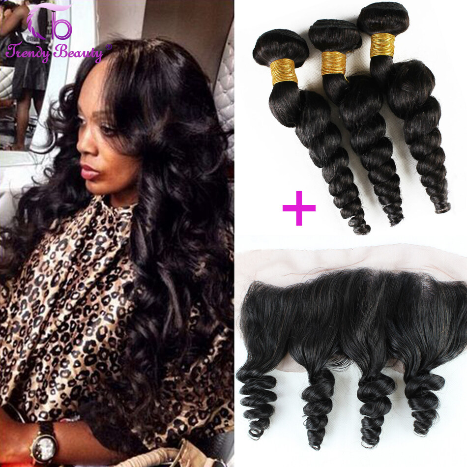 Trendy Beauty Hair Malaysian Loose Wave Hair With 13x4 Lace Frontal