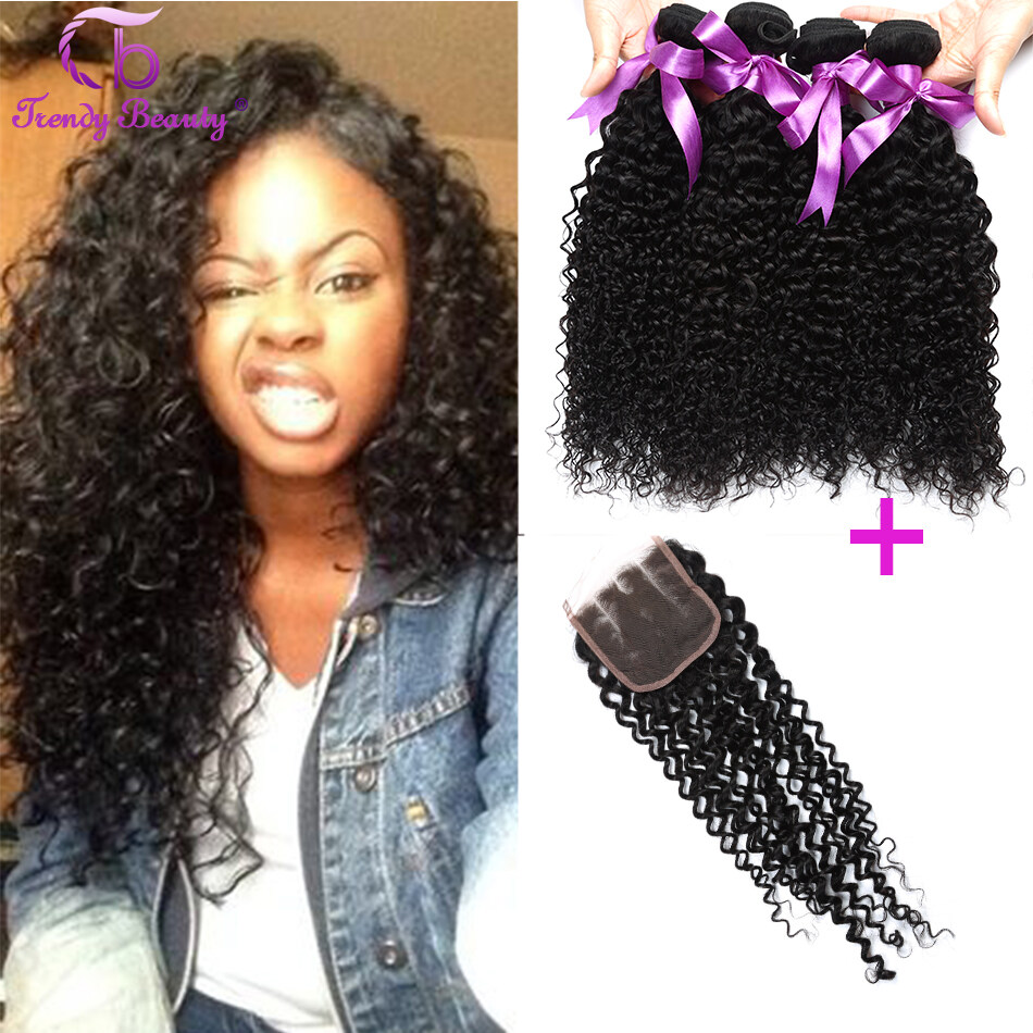 Trendy Beauty Hair Indian Kinky Curly With Lace Closure Human Hair