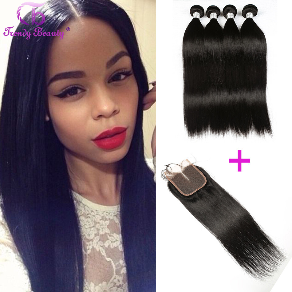 4 Bundles With Lace Closure Brazilian Straight Virgin Hair