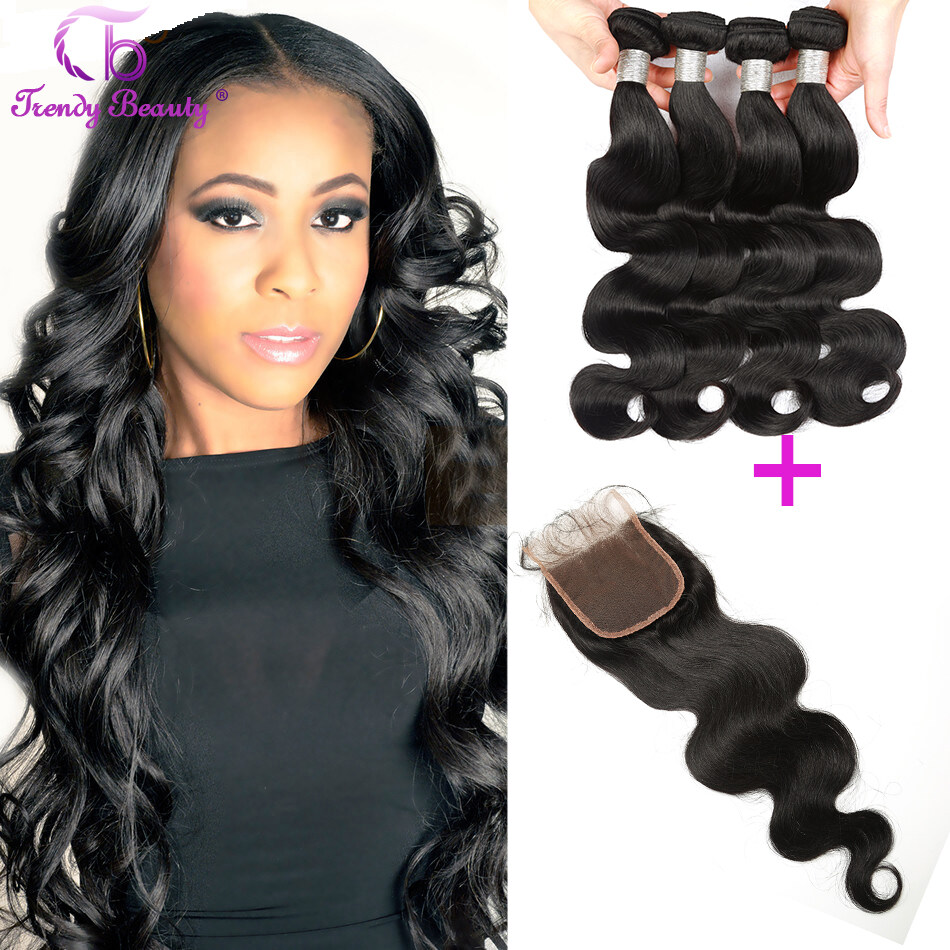 4pcs With 1pc Lace Closure Brazilian Body Wave Virgin Hair
