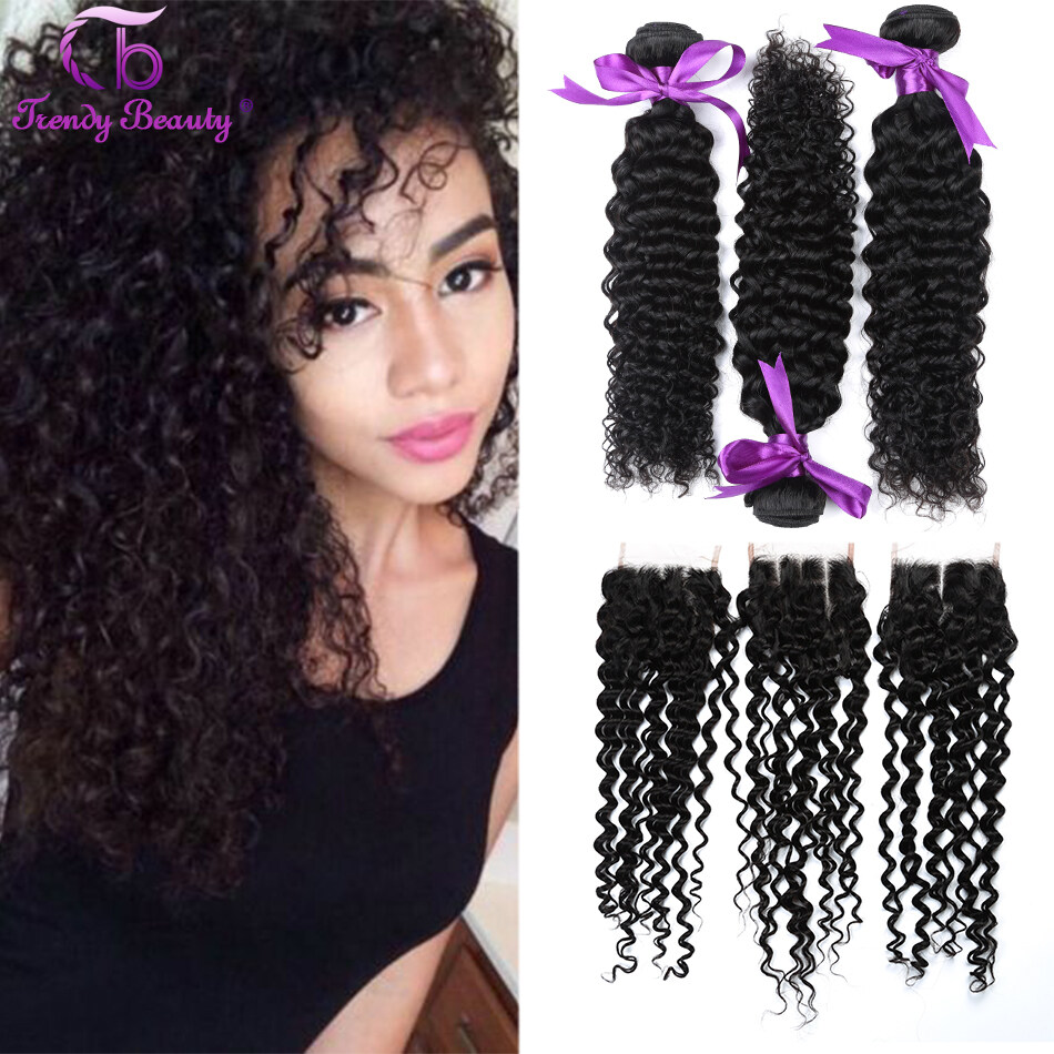 Brazilian Deep Curly With Lace Closure 3 Bundles With Lace Closure