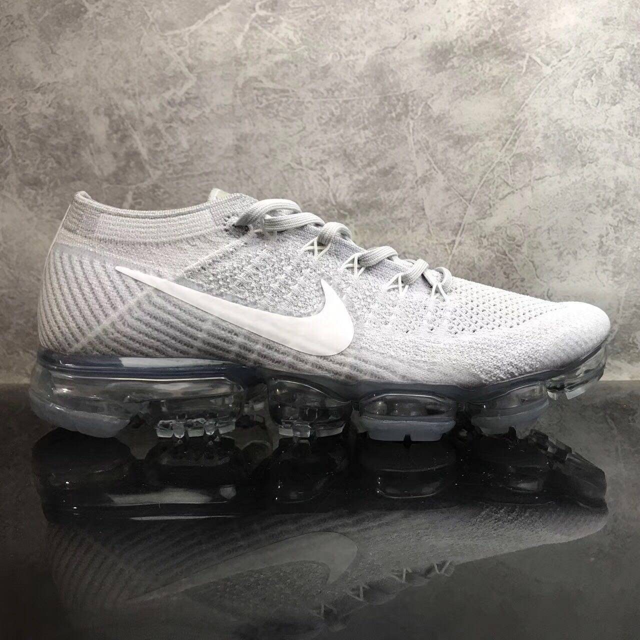 92d95cffe NIKE AIR VAPORMAX FLYKNIT PURE PLATINUM WOLF GREY 849558-004 FROM NIKE  FACTORY DIRECTLY LIMITED PAIRS