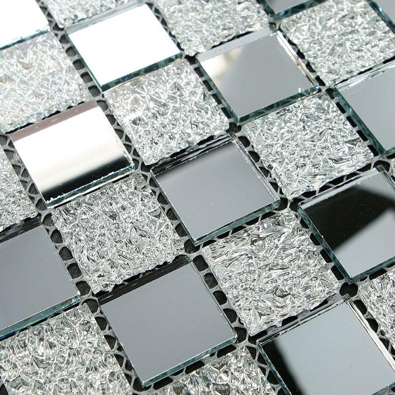 Mirrored And Crystal Backsplash Wall Tiles Silver