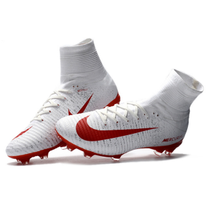 5e037633610 NIKE Mercurial Superfly V White Red Soccer Cleats Boots FG soccer shoes US  Size 6.5-11