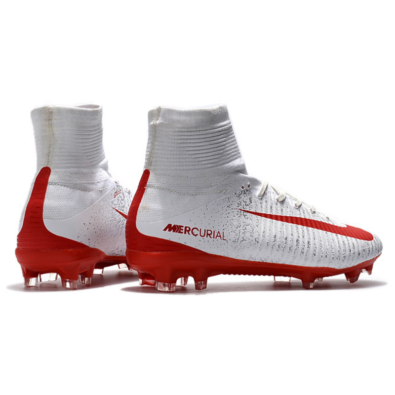 0b401b7ee ... Superfly V White Red Soccer Cleats Boots FG soccer shoes US Size 6.5-; NIKE  Mercurial ...