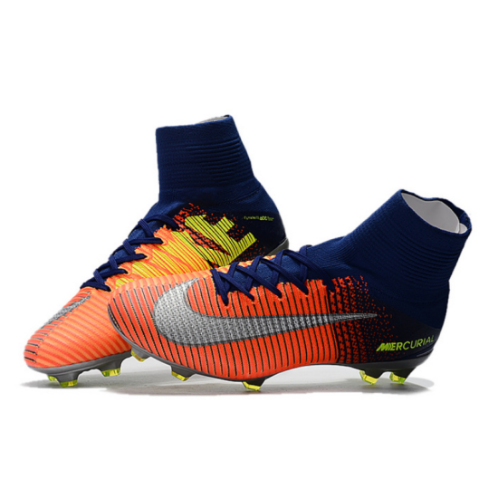22b3d73b017 NIke Mercurial Superfly V Time to Shine Blue Orange Soccer Cleats Boots FG  soccer shoes US ...