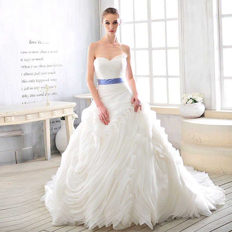 WD20 Top Quality Lace Up Ivory puffy Wedding Dress Bridal Gowns Robe ...