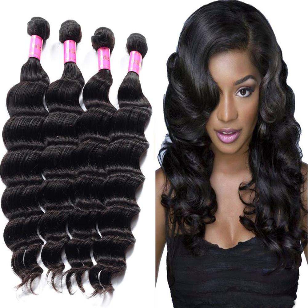 Loose Wave Virgin Human Hair Extensions Unprocessed Virgin Weave Hair