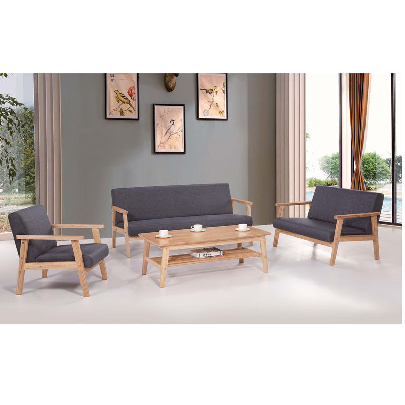 0109JT384 High End All Solid Wood Fabric Sofa Modern Nordic Ash Solid Wood  Features Combination Sofa Set