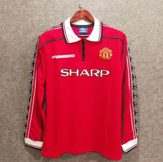 b3df3ad9e 98 99 manchester united retro soccer jersey beckham 7 custom 3D Velvet font football  shirts long sleeve