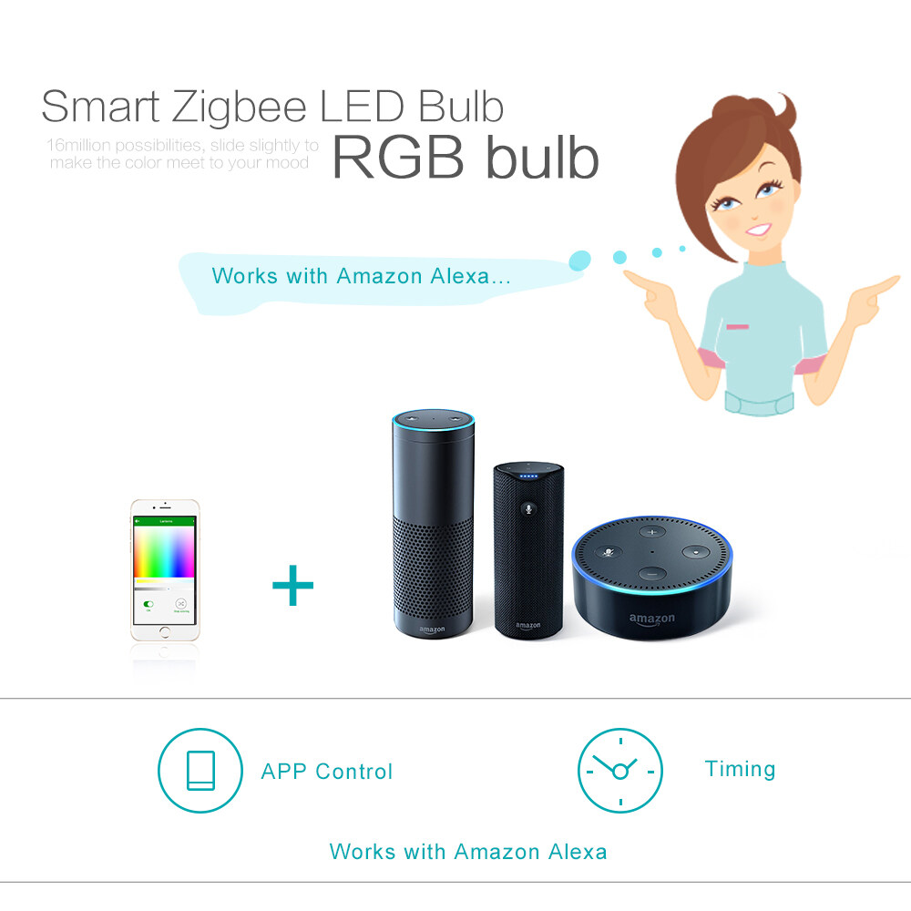9w Smart Zigbee Led Bulb Light Dimmable 60w Equivalent