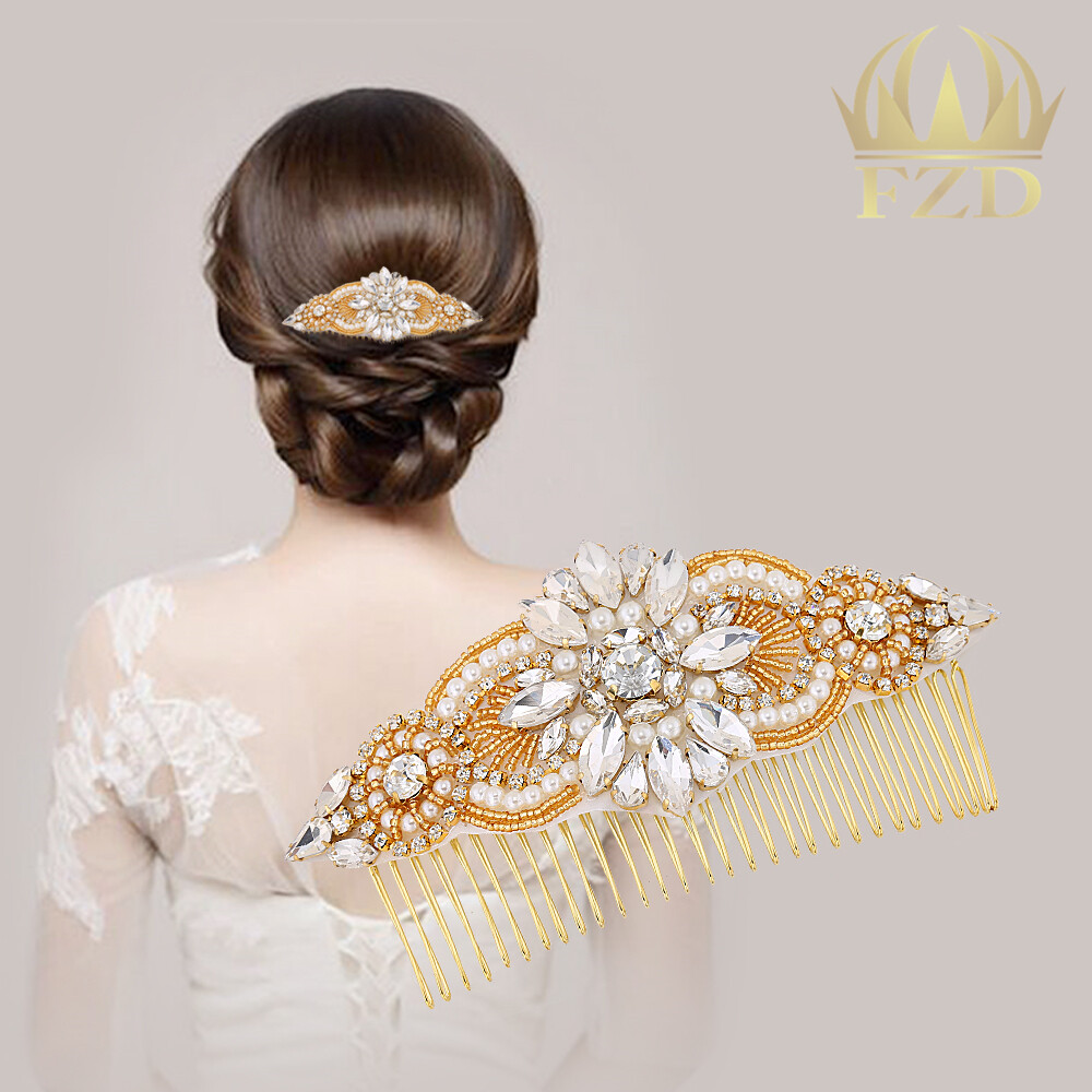 Rose Gold Crown Crystal Wedding Comb Tiara Bridal Hair Jewelry Headband Headpieces For Birthday Wedding Party Club Pageant Hair Accessories