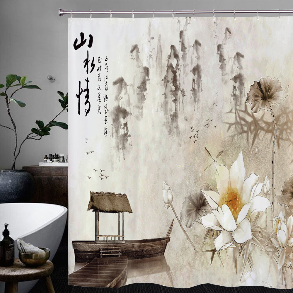 Chinese style Lotus shower curtain with Hooks Bathroom Accessories ...
