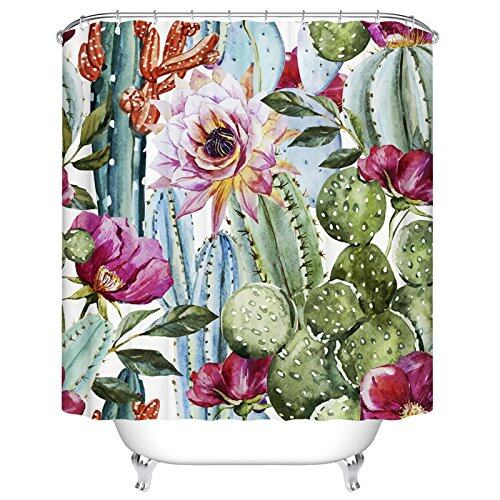 cactus flower shower curtain with Hooks Bathroom Accessories ...