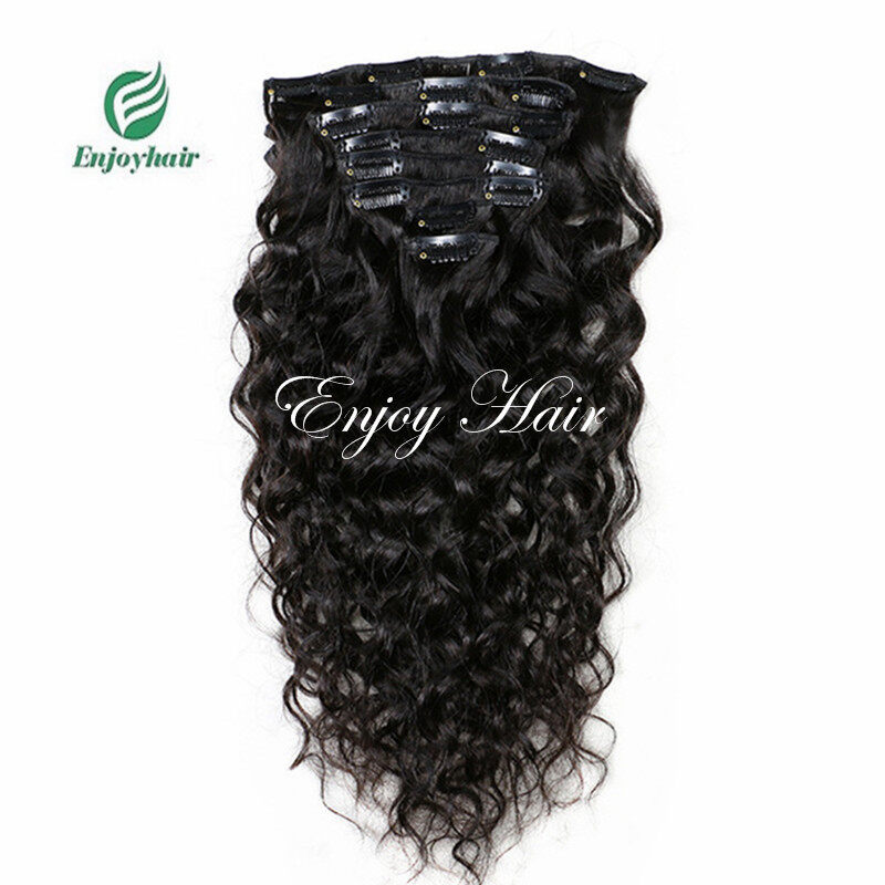 Clip In Human Hair Extensions Natural Color 8 Piecesset Brazilian