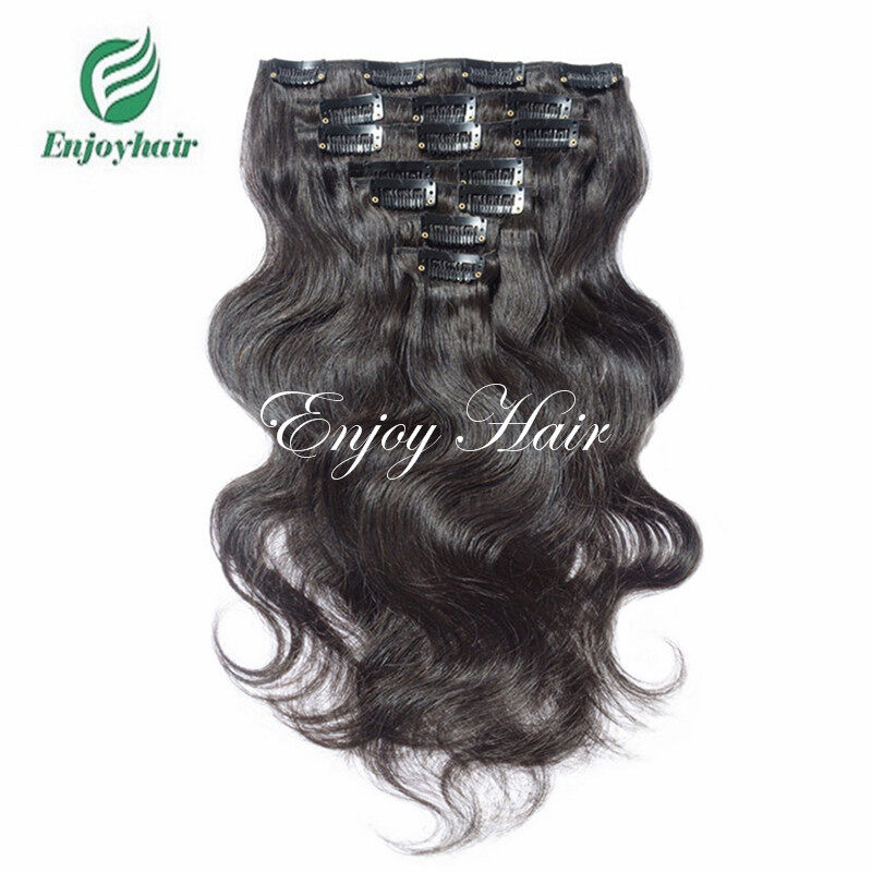 Body Wave 100 Human Hair 1b Color Natural Black Clip In Hair