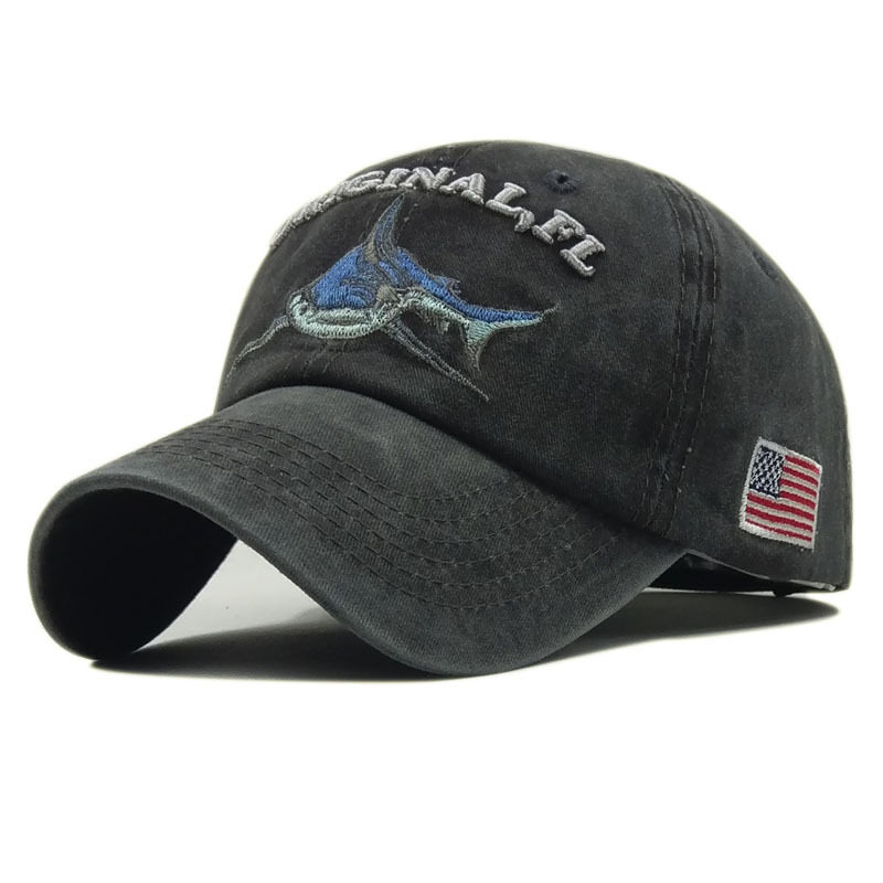Washed Cotton Baseball Cap Vintage Snapback Trucker Hat Embroidery Hat
