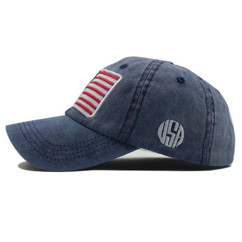 b67b24a54ed USA Flag Baseball Cap Fashion Snapback Trucker Hat Washed Cotton Hats