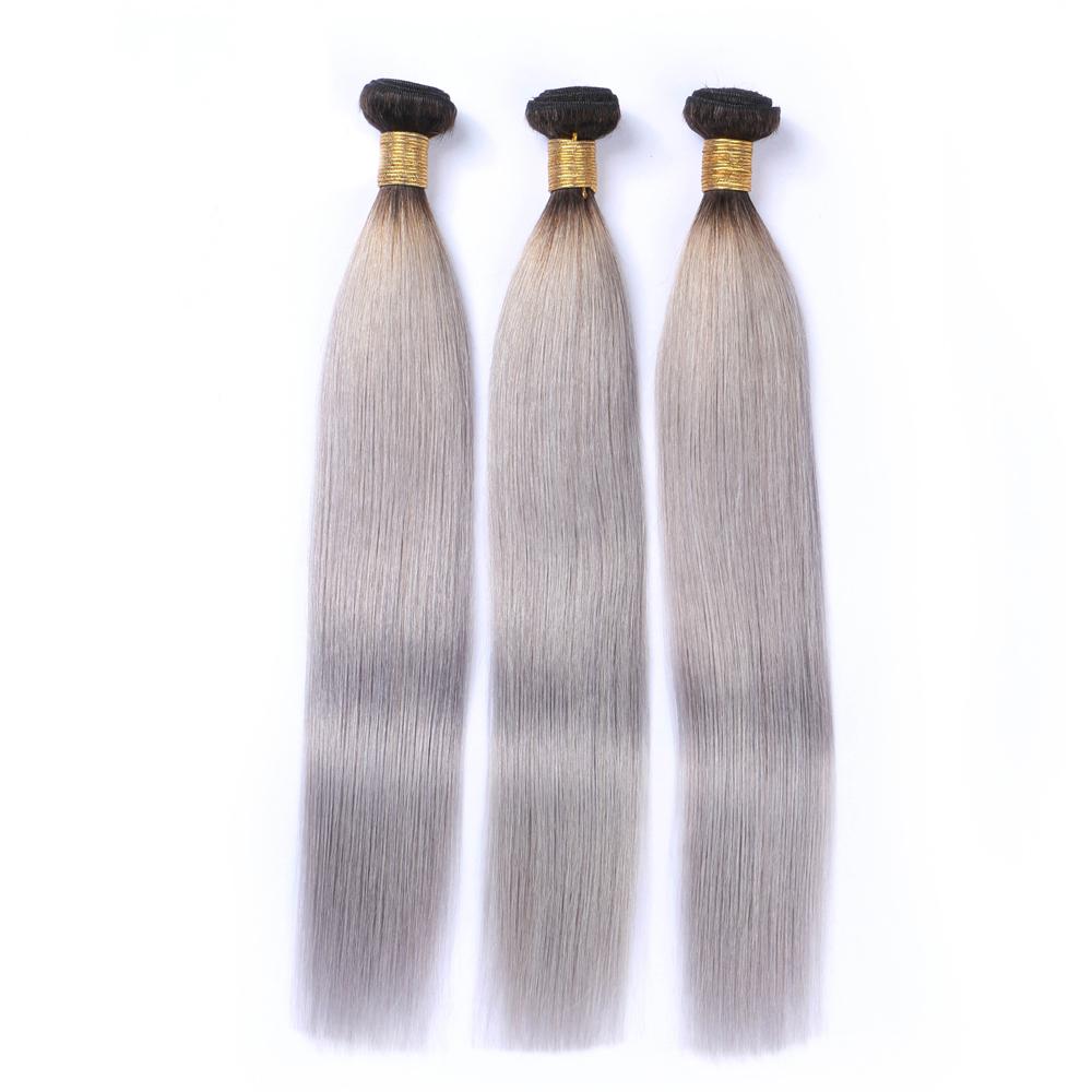 Silk Straight 1bgrey Ombre Brazilian Remy Hair Weave Silver Grey