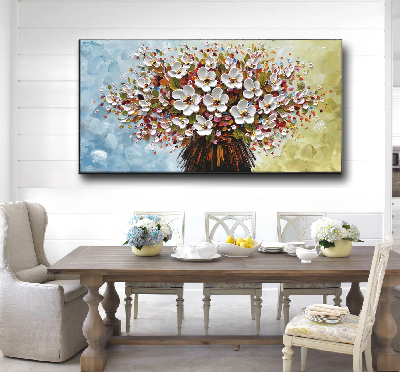 3D Texture Floral Paintings Modern Home Decor Wall Art Handpainted Contemporary