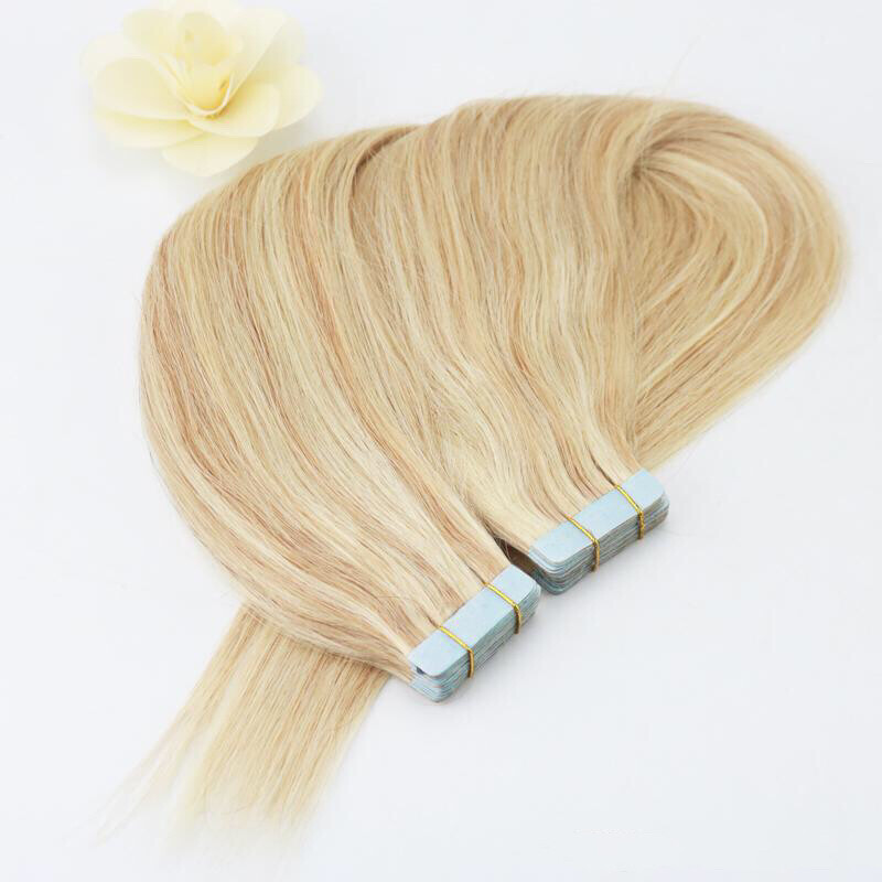 Ombre Blonde Color 14 To 613 Seamless Skin Weft Tape In Hair