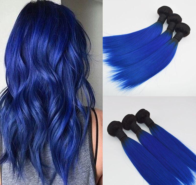 Wholesale Price Ombre Blue Hair Weaves Brazilian Straight Human