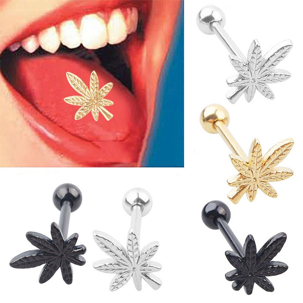 New Chic Leaves Tongue Piercing Ring Navel Jewelry Stainless Steel Piercing Stud