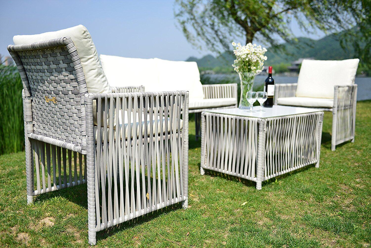 Outdoor Patio Furniture Wicker Rattan Sofa Sectional 4pcs