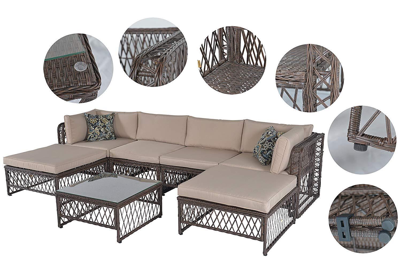 Outdoor Patio Pe Wicker Rattan Sofa Sectional Furniture