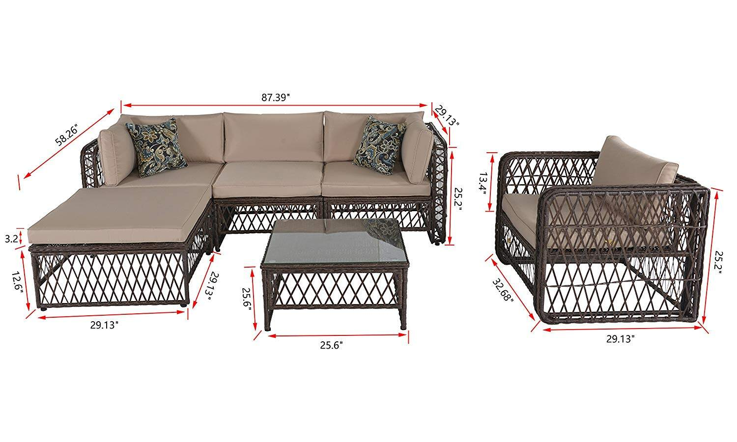Outdoor Patio Pe Wicker Rattan Sofa Sectional Furniture