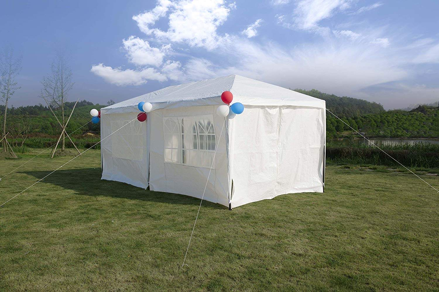 Improved Version Canopy Tent Wedding Party Tent with Metal Connectors  Outdoor Gazebo Heavy Duty White 10' x 20' with 6 Walls