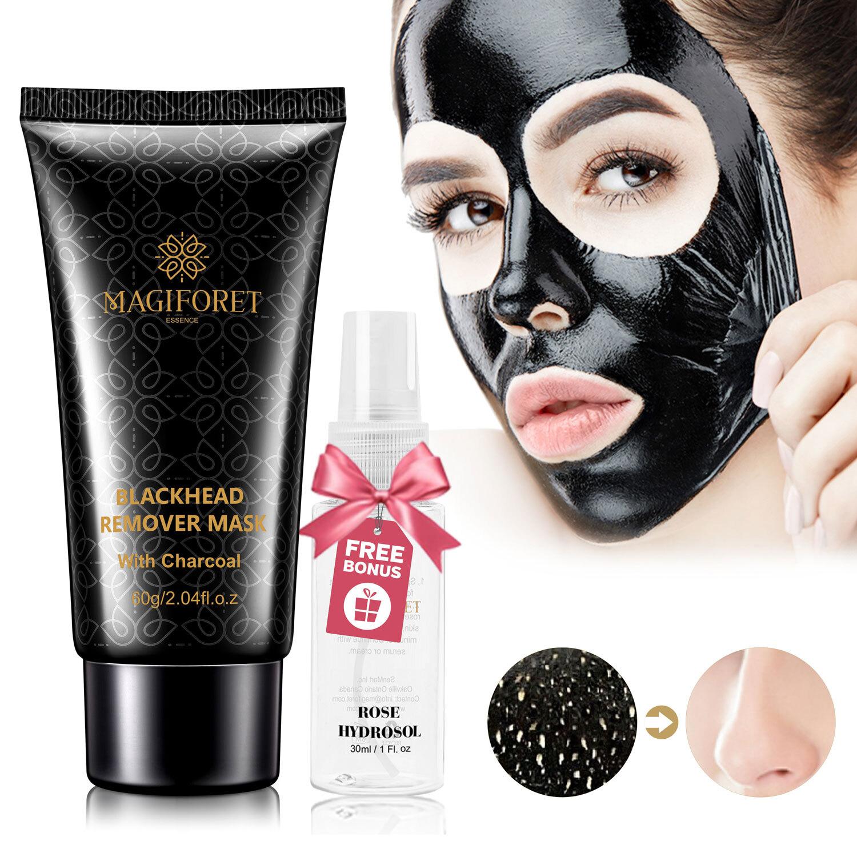 Black Mask, Blackhead Peel Off Mask, Blackhead Remover Mask, Deep Cleansing  Charcoal Mask 60g Rosewater Spray 30ml