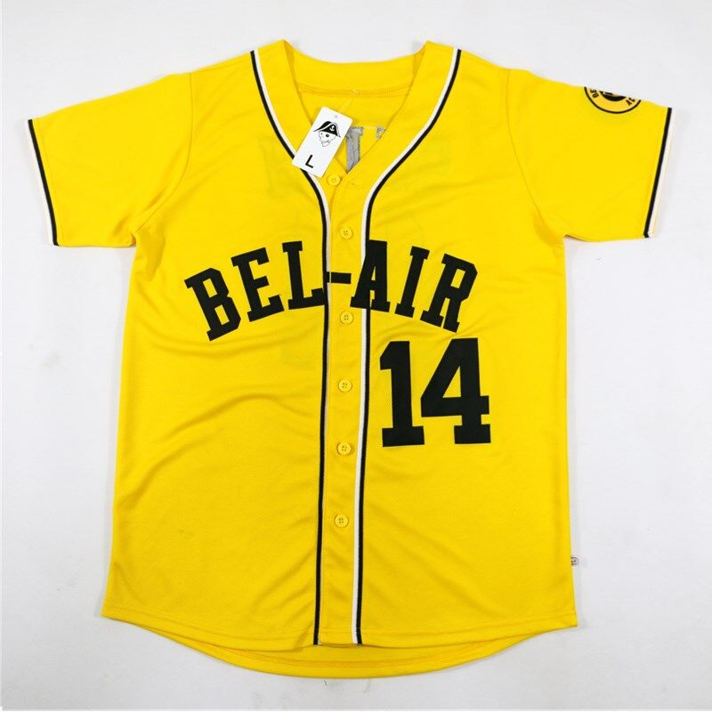 14  Will Smith Bel-Air Academy Baseball Jersey Stitched Yellow The Fresh  Prince of Bel-Air d02c173e9