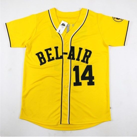 8f000fa0240e 14  Will Smith Bel-Air Academy Baseball Jersey Stitched Yellow The Fresh  Prince of Bel-Air
