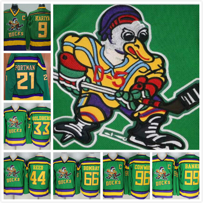 Mighty Ducks Movie Jersey 9 21 33 44 66 96 99 Green Ice Hockey Jersey  Stitched  Mighty ... 9c953fb2b