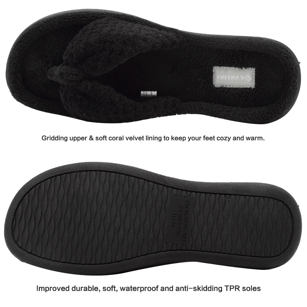 4b5534df8 ... Plush Gridding Velvet Lining  FANTINY Women s Cozy Memory Foam Spa  Thong Flip Flops House Indoor Slippers ...