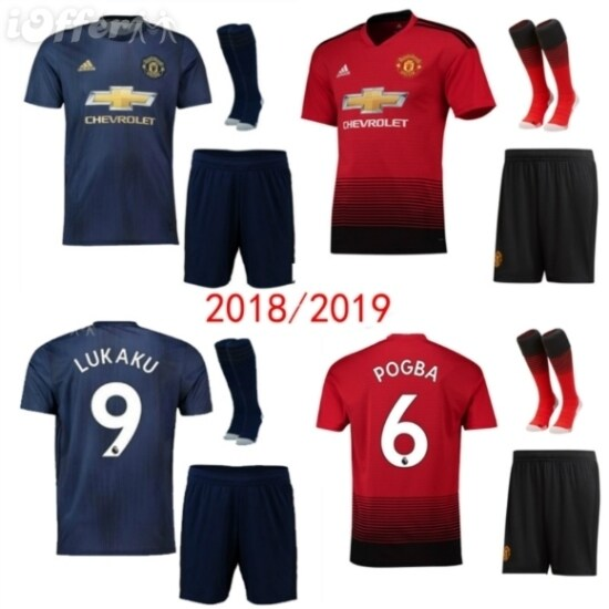 outlet store 0cd7b adfd5 18 19 manchester united soccer jersey man home 3rd away man kit alex lukaku  pogba jersey 2018 19 +socks