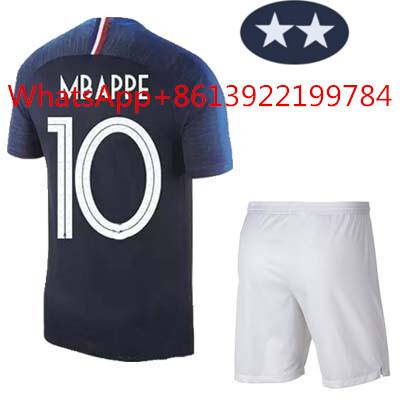 reputable site c3c92 c639d 2 Star France national team jersey 2018 France jersey kids kit home away  MBAPPE POGBA soccer Jerseys maillot de foot