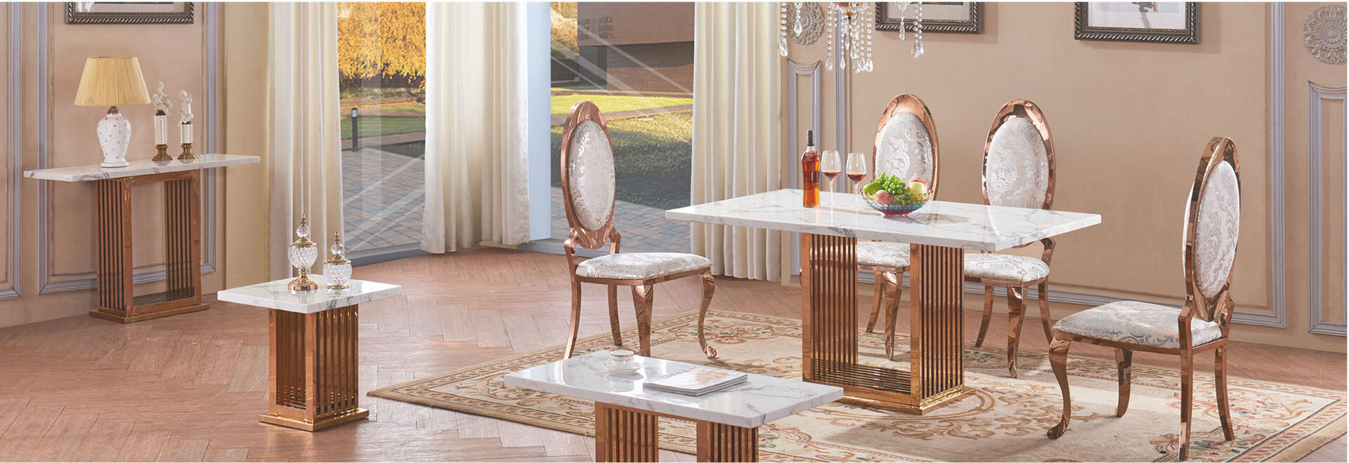 6 seater marble with gold stainless steel dining table set