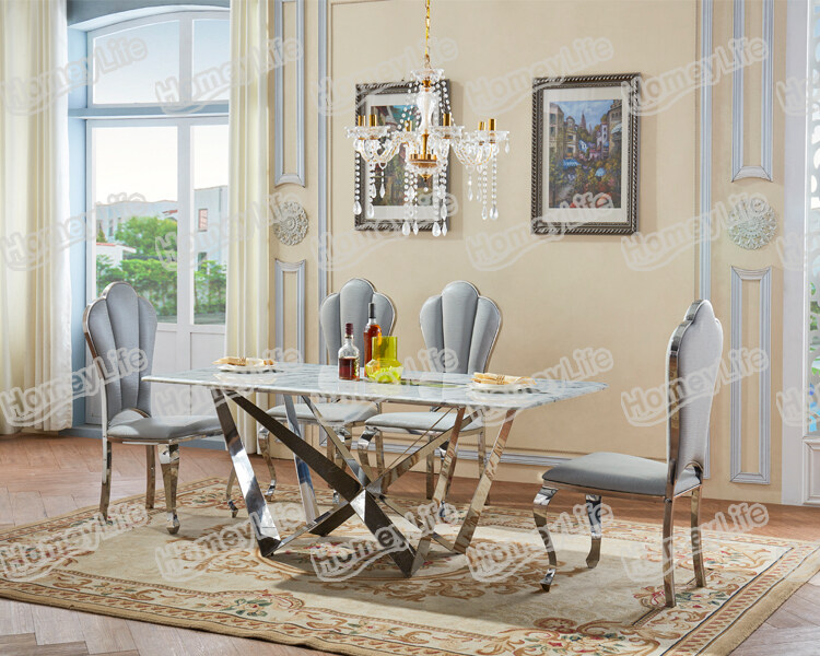 Glossy Stainless Steel Leg With Rectangular Square Marble Dining Table