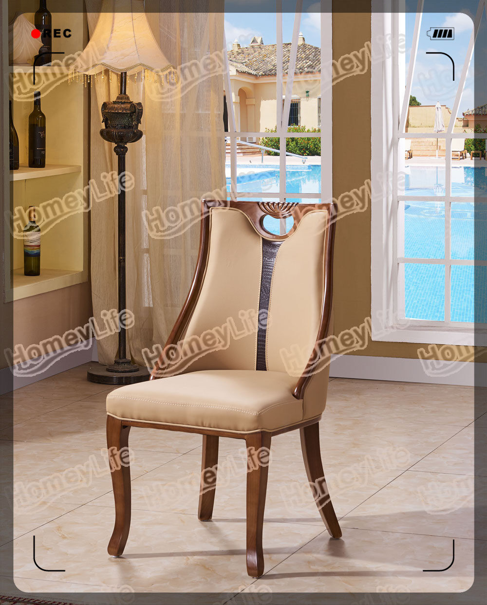 solid wood frame with PU leather cushion dining chair