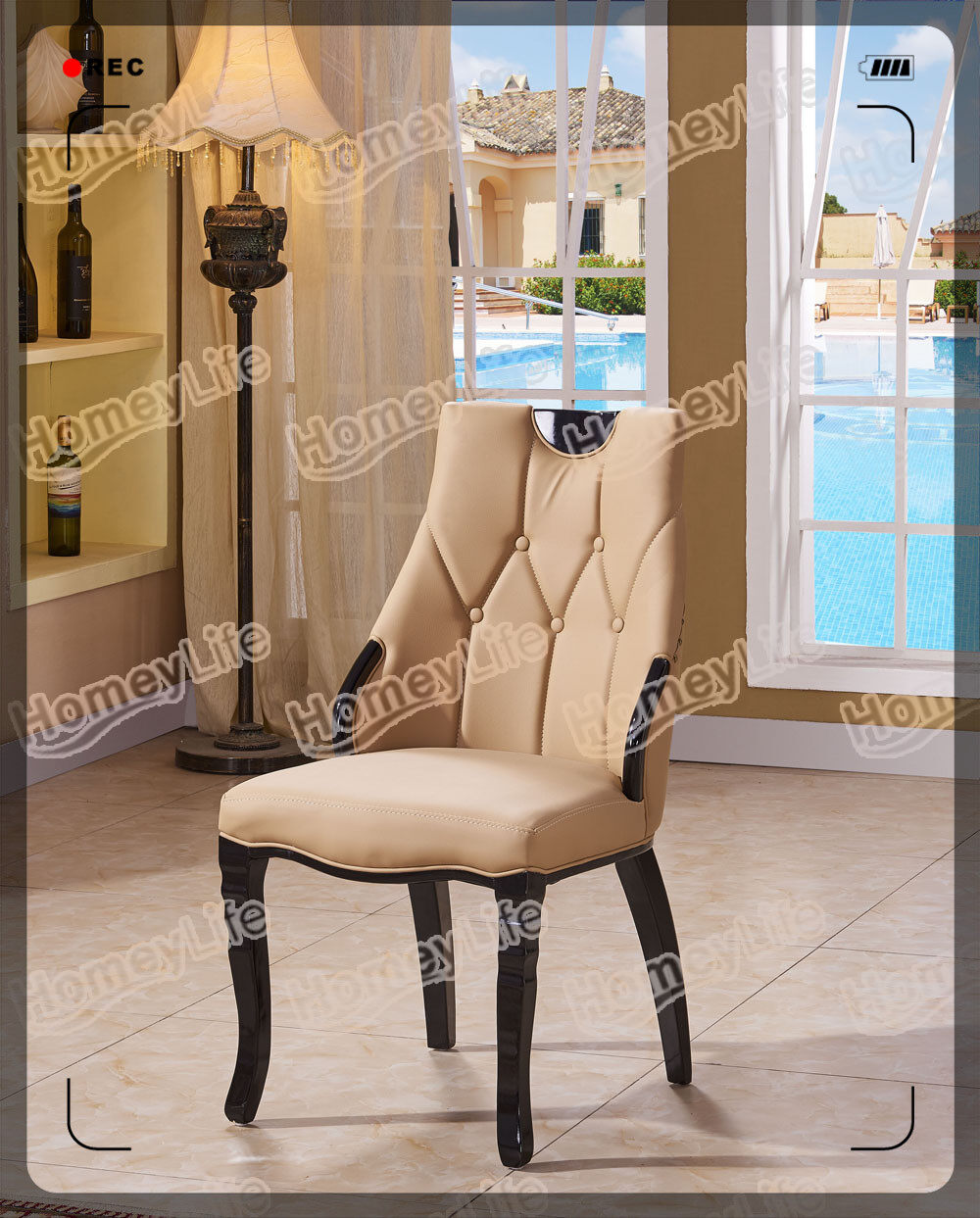 solid wood frame with PU leather cushion dining chair HC39#