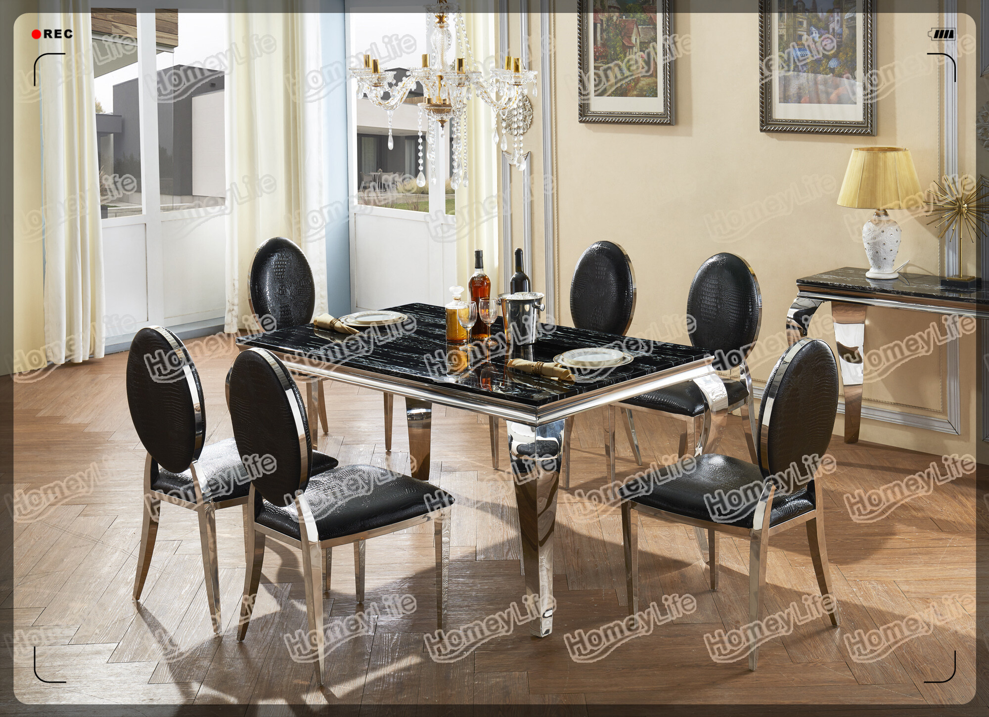 6 Seater Marble Dining Table With Stainless Steel Frame HT25#