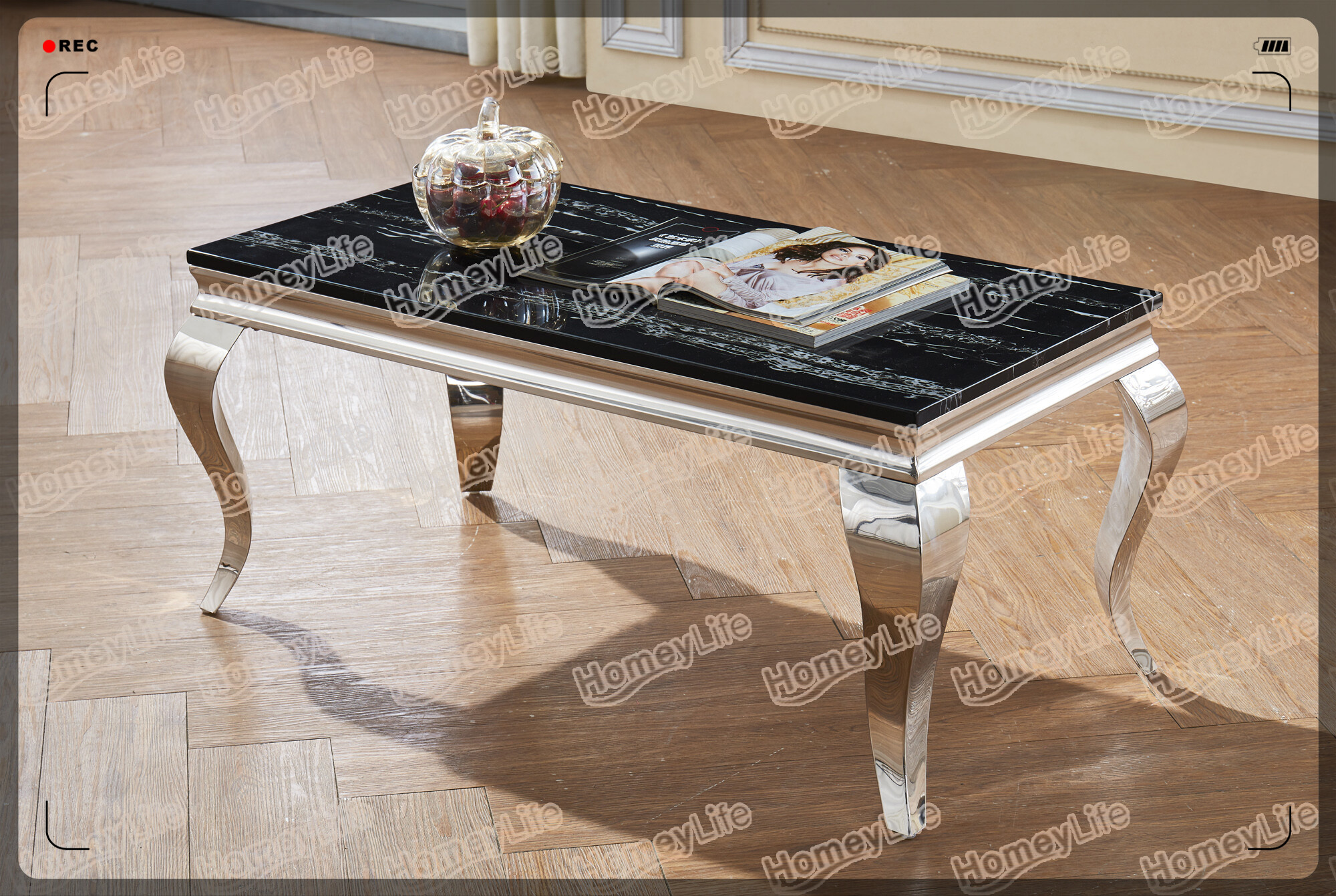 Glossy Color Stainless Steel Leg Marble Nesting Coffee Table HD25#