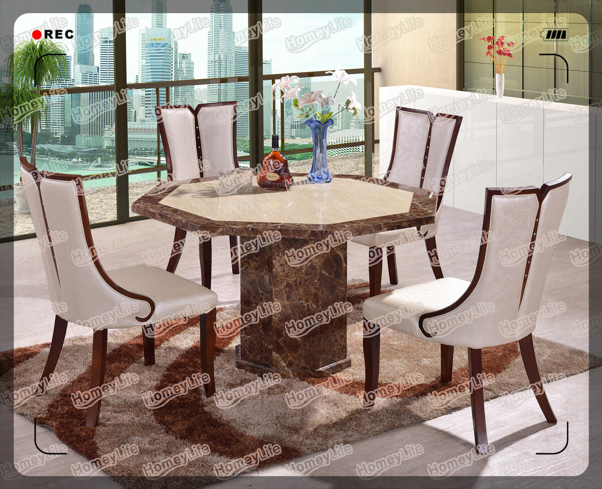 multiple sides desgin marble top dining table HT02#
